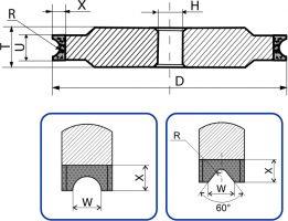 1F6V, 14F6V.   Круги шлифовальные плоские