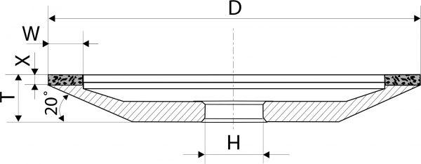 12A2-20. CBN Круги шлифовальные тарельчатые PDT