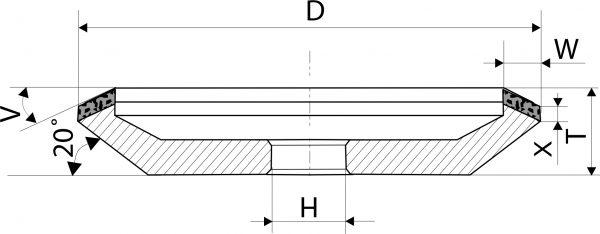 12V5-20. CBN Круги шлифовальные тарельчатые PDT