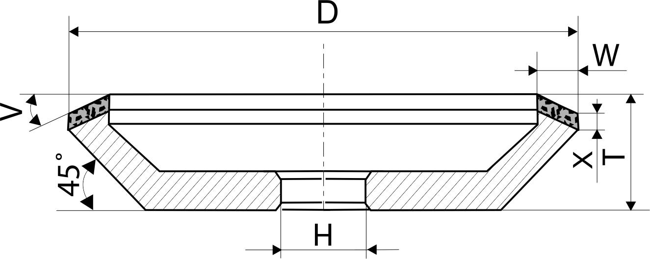 12V5-45. CBN Круги алмазные шлифовальные чашечные PDT