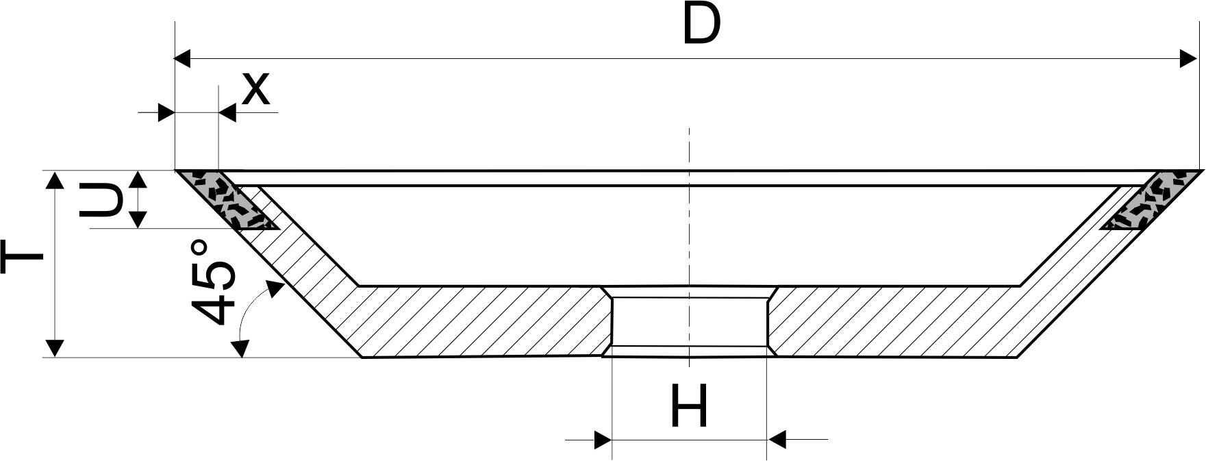 12V9-45. CBN Круги шлифовальные чашечные конические PDT