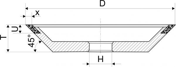 12V9-45. Круги шлифовальные чашечные конические