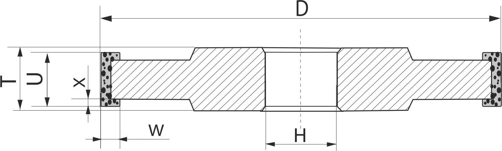 14U1. CBN Круги шлифовальные прямого профиля трехсторонние PDT