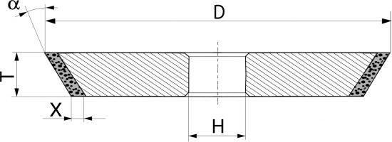 1V1. CBN Круги шлифовальные конические PDT